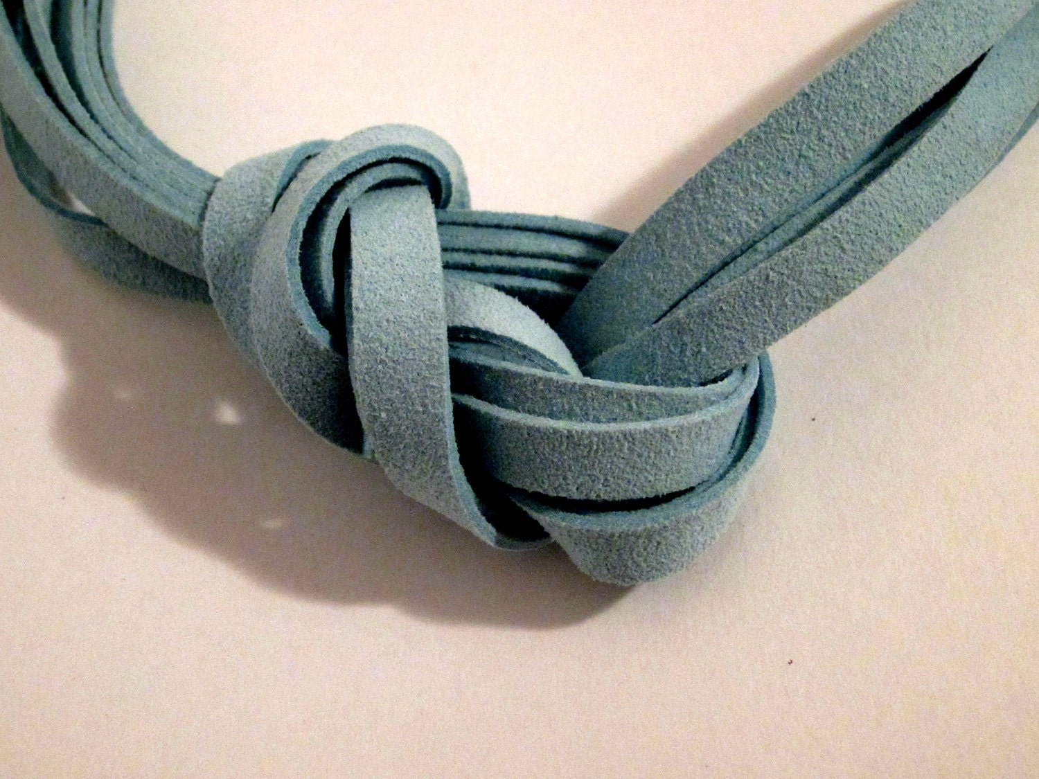 Seafoam Green Leather Knot Necklace