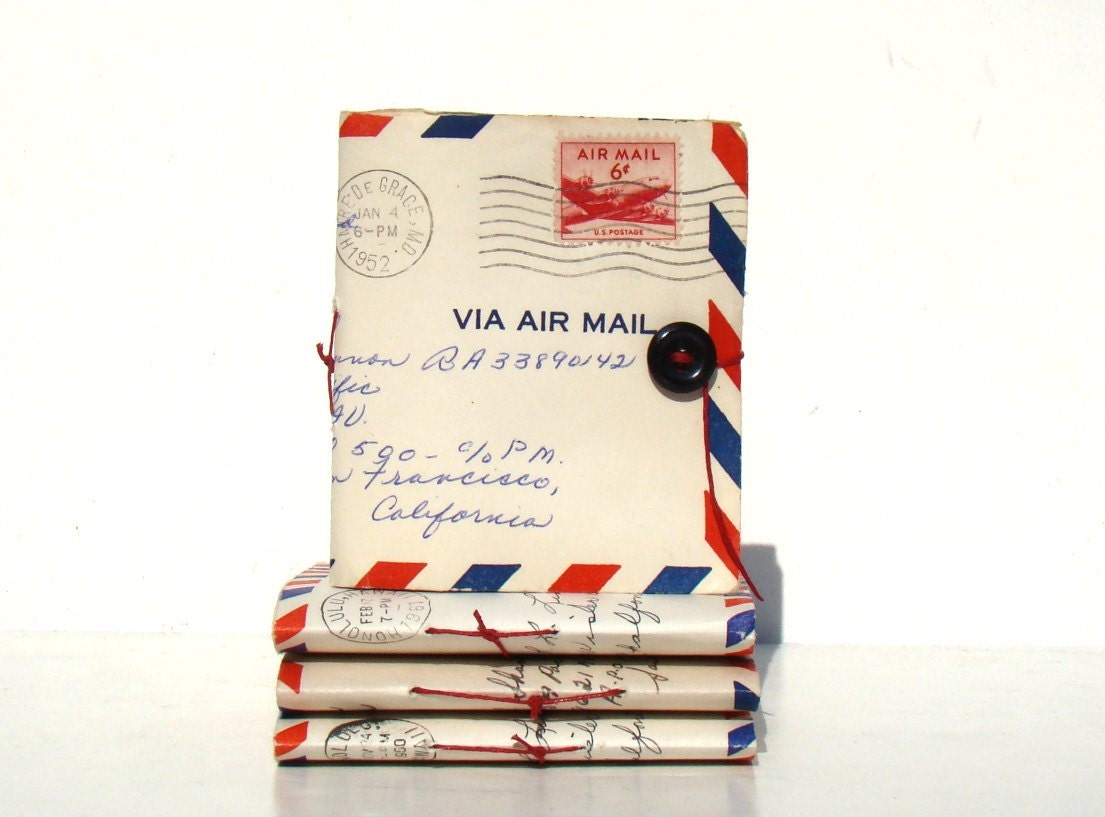 Missing You - vintage airmail paper and cover - Envelope mini-journal