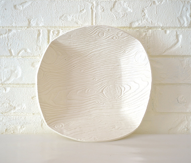 Large Square Woodgrain Bowl, White - MudHandChan