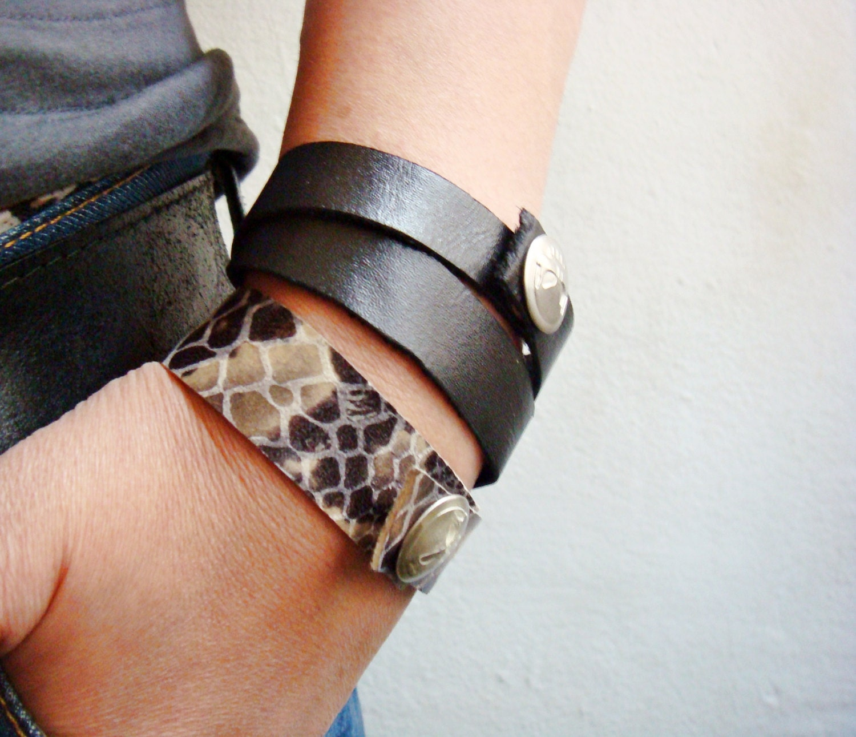 Leather Wrap Bracelets Scull Snap Buttons - faima