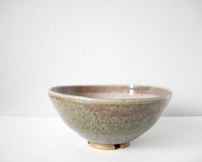 Handmade pottery bowl beautiful green pink grey glaze -  modern ceramics brown stoneware - thecupcakekid