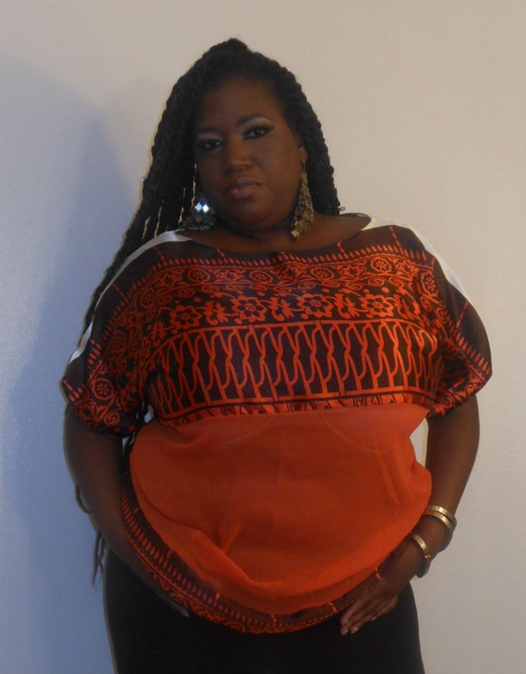 Leena - Posh N Petals Orange and Brown Charmeuse Silk  Blouse - XL-1X  Plus Size