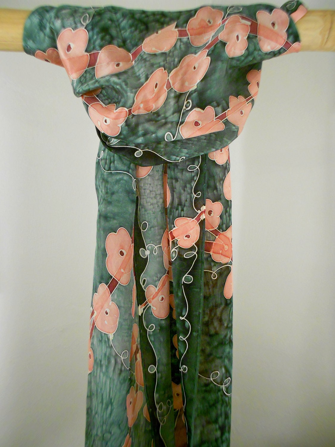 Peach and Olive Cherry Blossoms - Hand Painted Silk Scarf - CygnetSilks