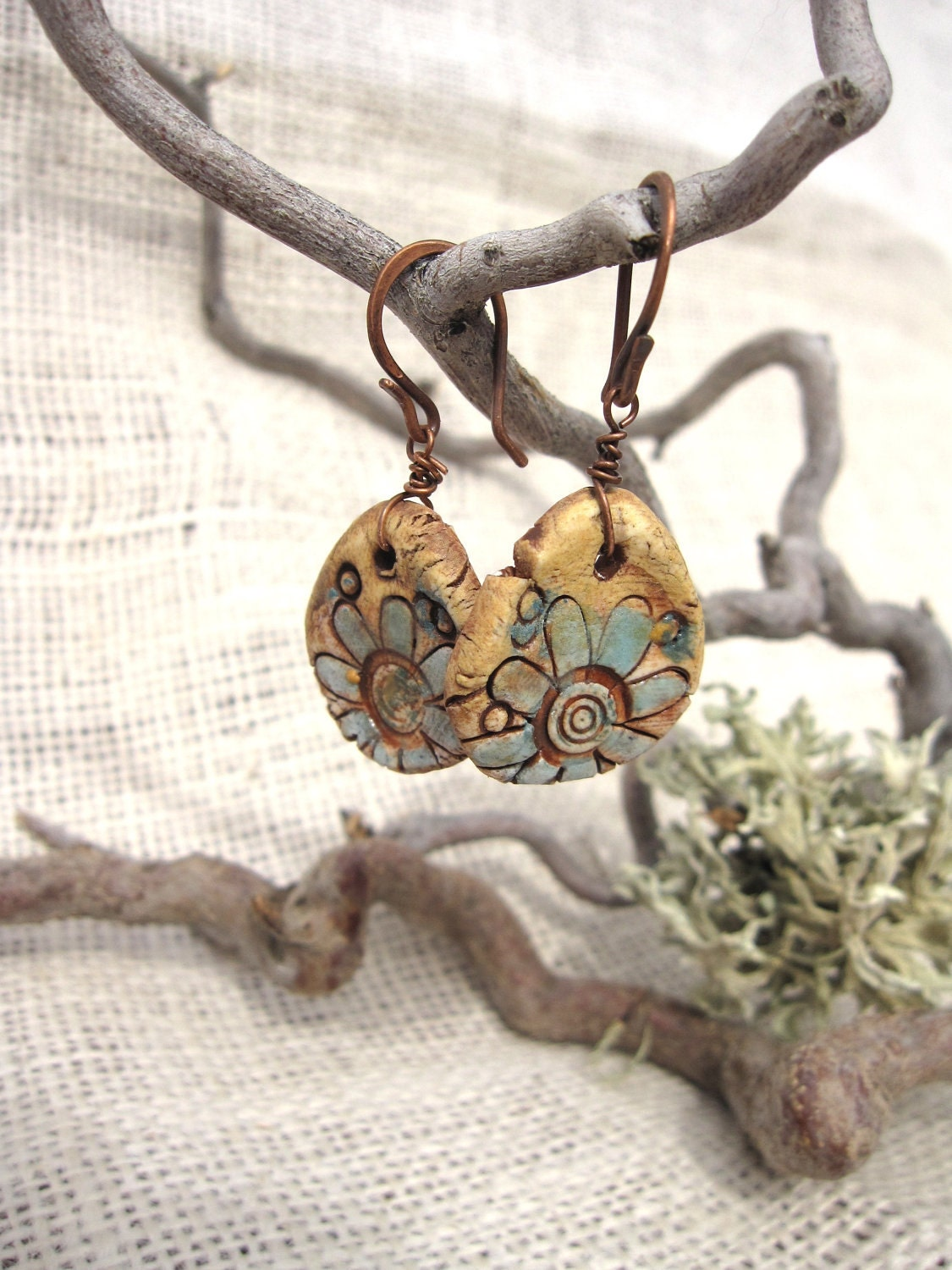 READY TO SHIP Free Formed Ceramic Earrings with Daisy Design