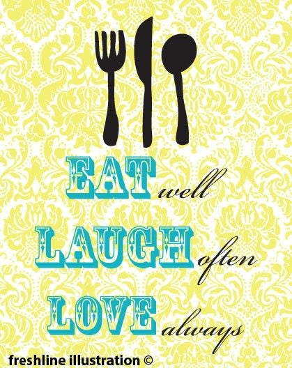 Eat, Laugh, Love Kitchen Art Print with Utensils 8x10 Art Print in Your CUSTOM color scheme