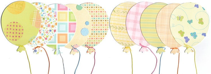Party Pastels Balloon Cards - Adorable for Birthday Invitations, Thankyou Notes, Fun and Unique Pastel Patterned Balloons - mybabyparty