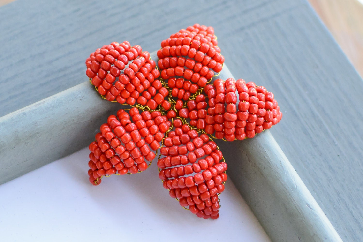 Beaded flower clip/brooch: Tangerine Tango- Red Orange beaded flower 2012 color of the year