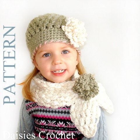 Patterns PDF Crochet Hat Scarf Newborn Infant by daisiescrochet Crochet Childrens Scarf