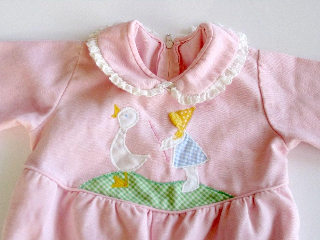 vintage girls jumpsuit  pink 18 months - OliversForest
