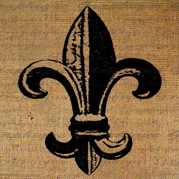 Fleur de Lis Bold French Digital Image Download Sheet Transfer To Pillows Tote Tea Towels Burlap No. 1022