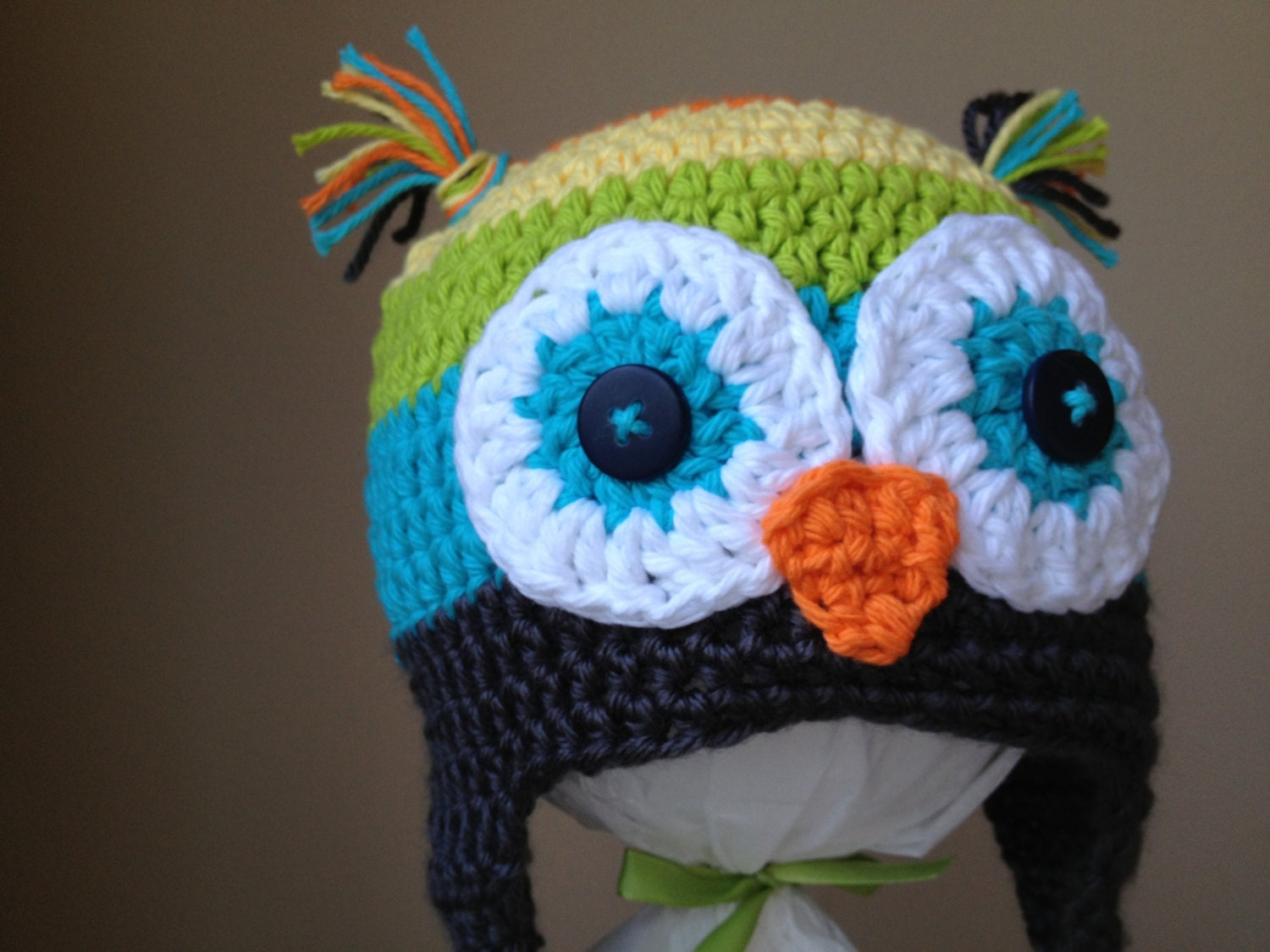 Crocheted Owl Beanie, Childs, gender neutral, rainbow