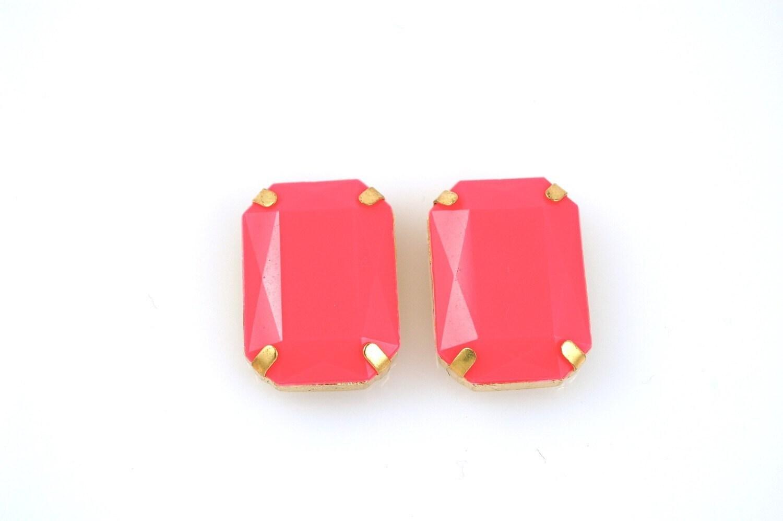 Large Hot pink Gem earrings