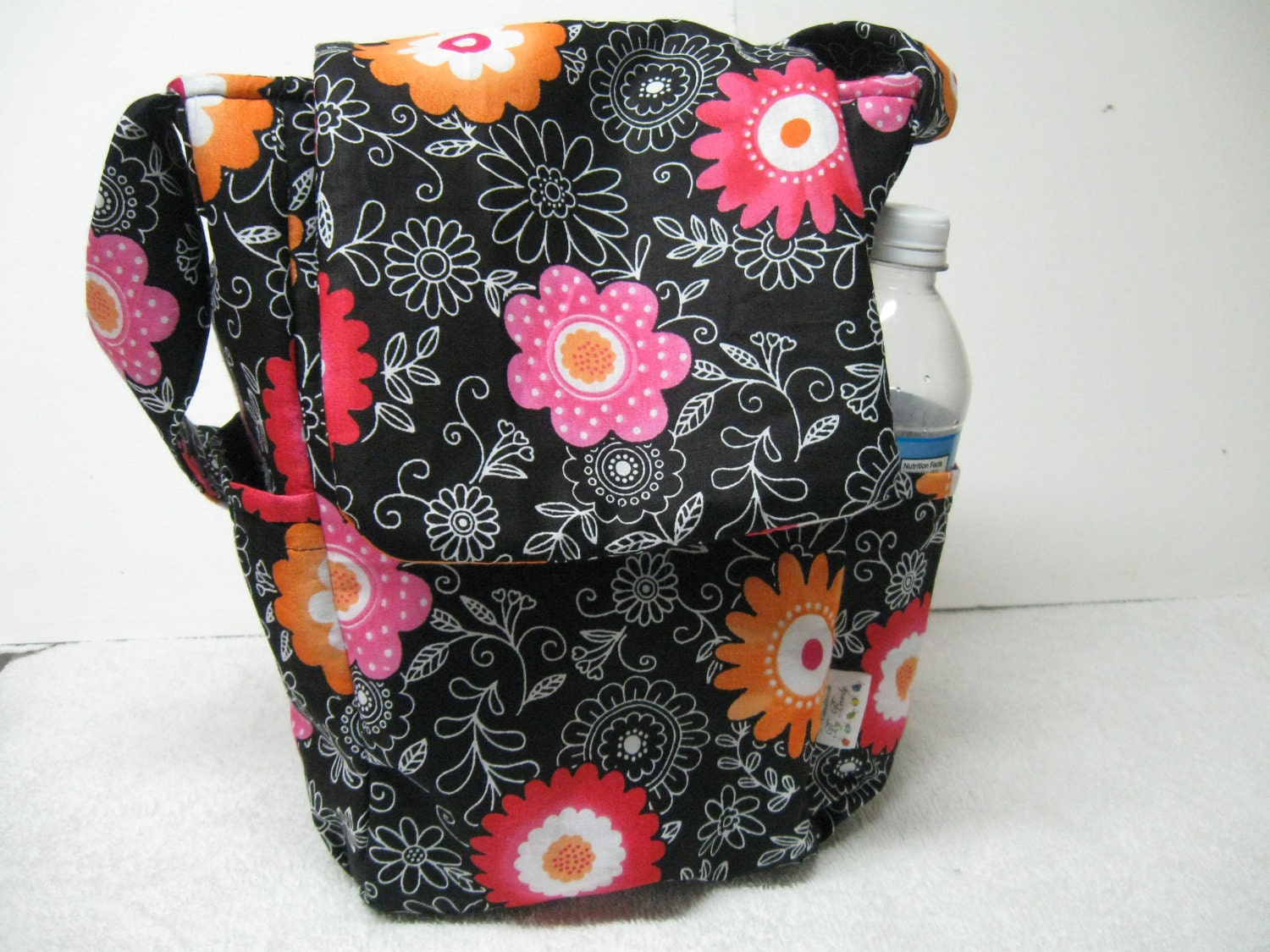 Handmade Medium Black Floral Purse Tote 2 Pockets on outside thermal lined and deep inside