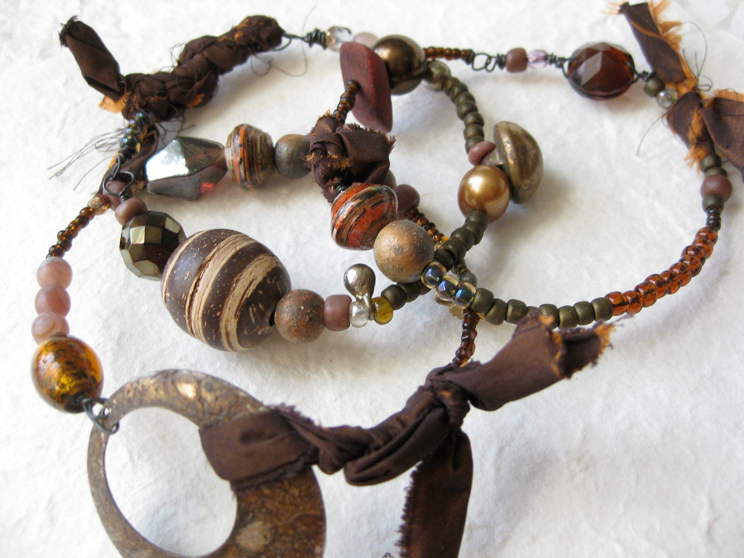 gypsy bangle stack - tribal assemblage - bronze brown - salvage - african beads - silk textile - rustic -vintage antique - crankypants
