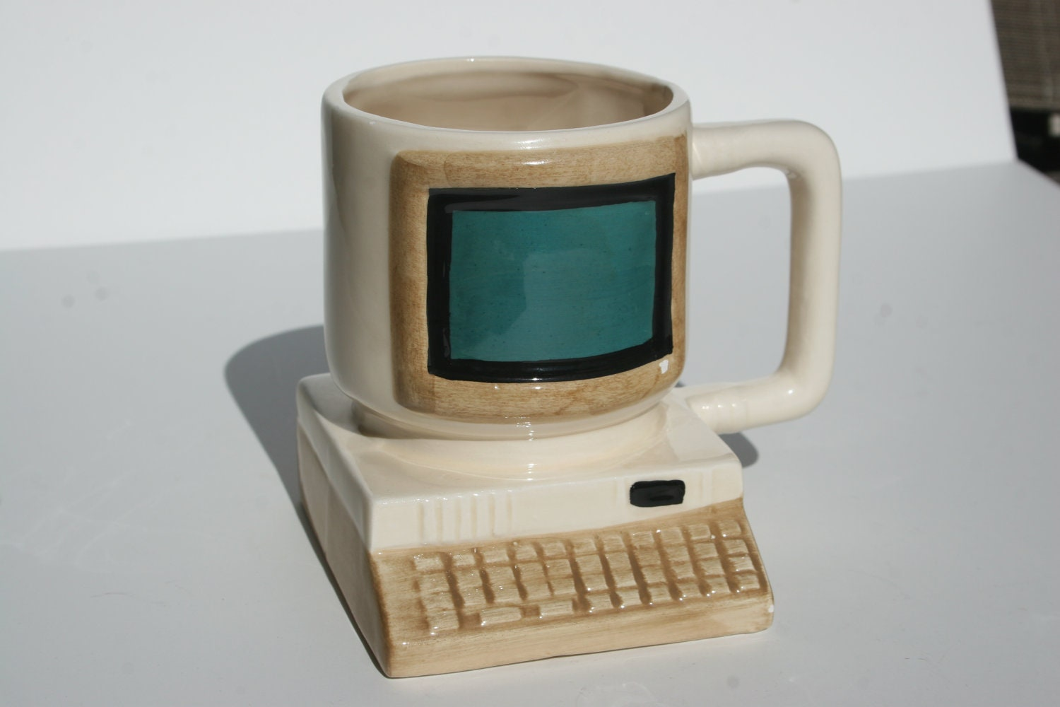 Huge Retro Vintage Computer Mug with  Keyboard Large CRT Monitor for Coffee Pens Paintbrushes or Air Plants in Blue Black Brown