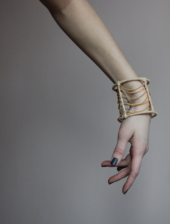 Gold chain bangle bracelet - mariaHandmade