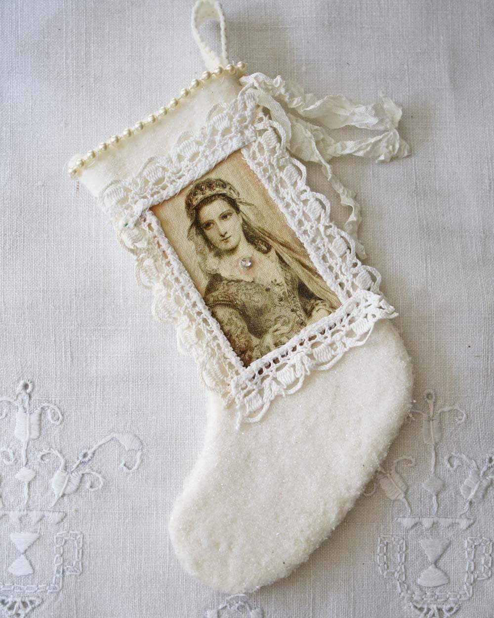 Handmade Christmas Stocking Ornament: Shabby French Saint Glitter Mini Stocking