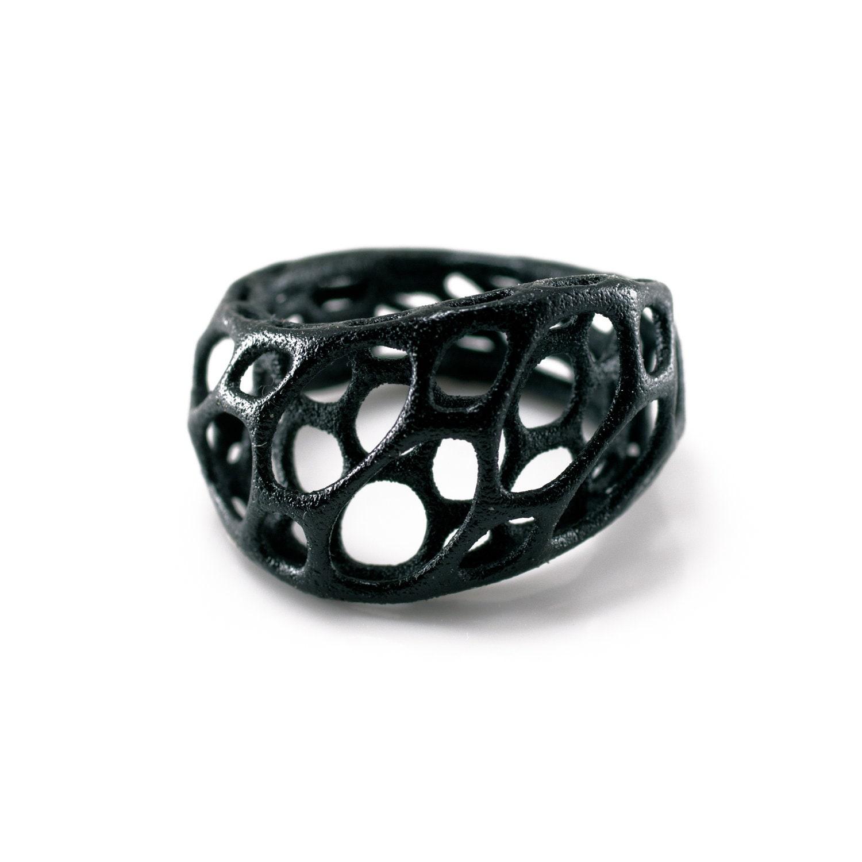 2-layer twist ring (black) 3d-printed nylon plastic - nervoussystem