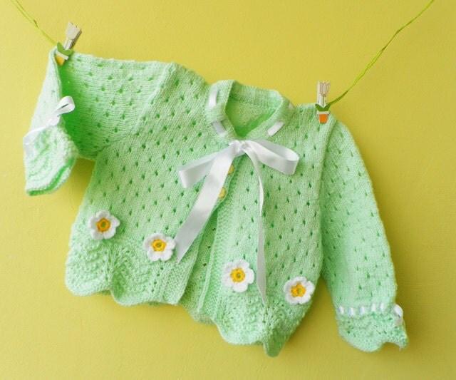 دست ژاکت کش باف پشمی کودک در گل سبز نرم و crocheted کشباف