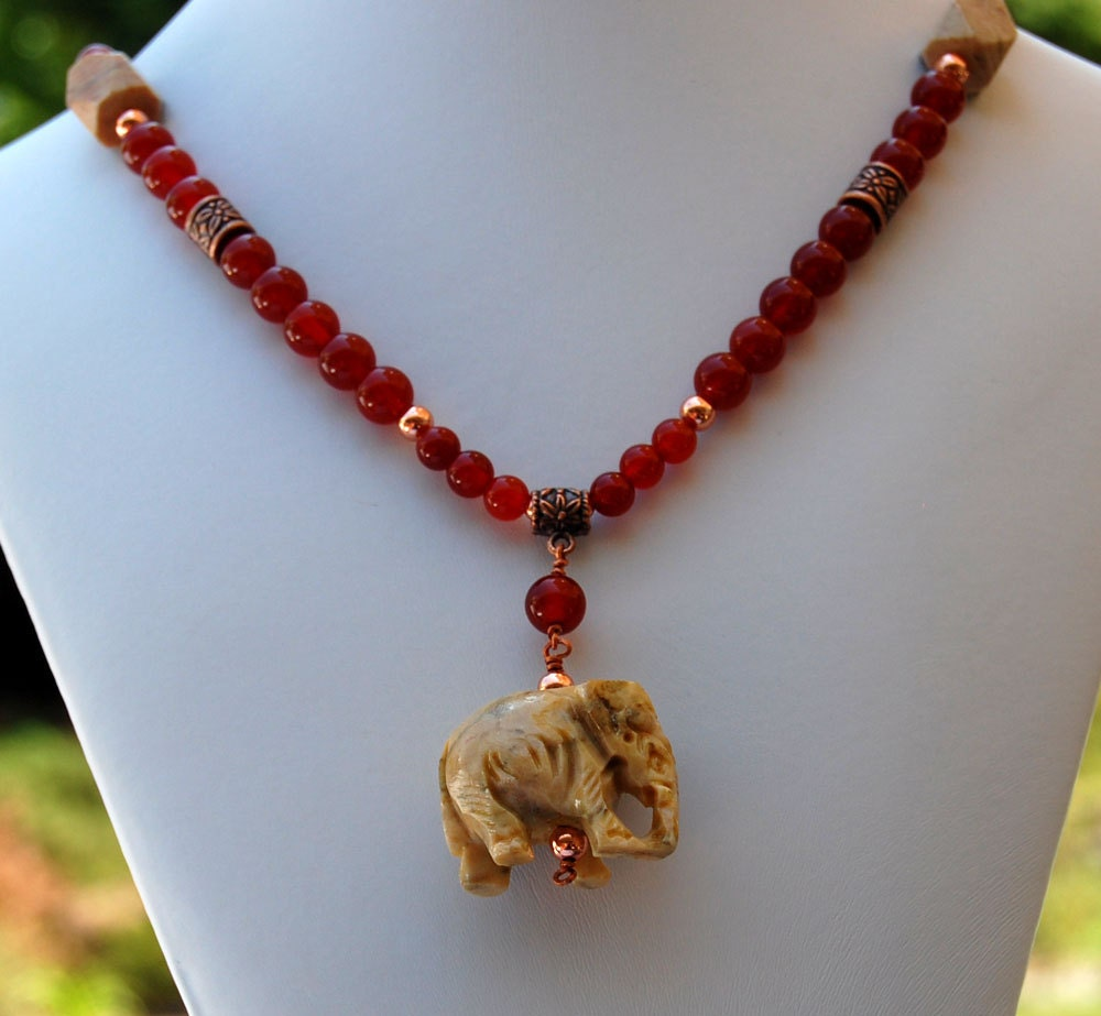 Republican Elephant and Red Carnelian Handmade Gemstone Necklace - ExoticTreasuresJewel