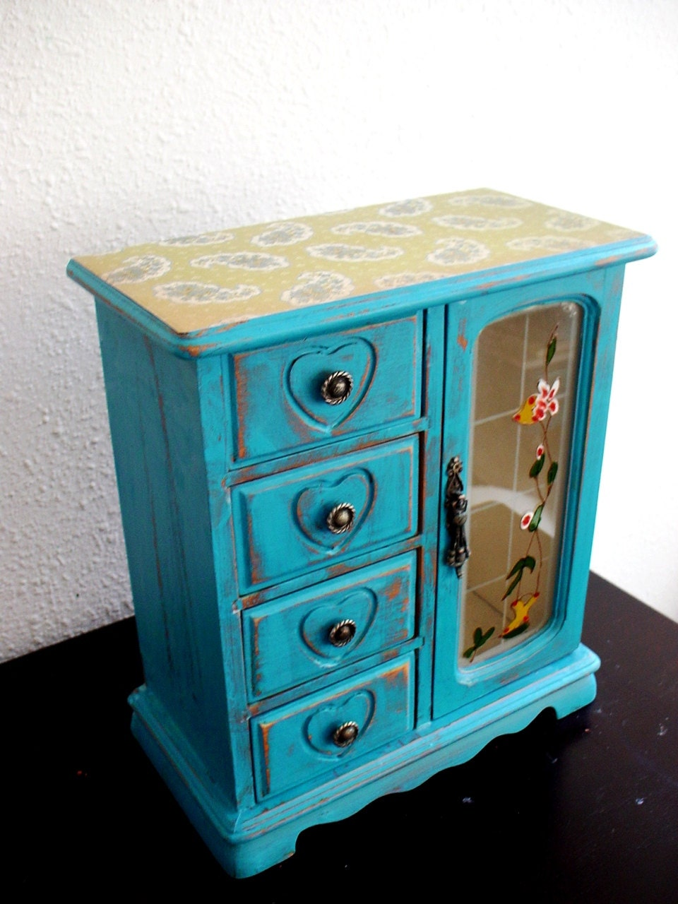 Hand painted turquoise/Green  Wooden Jewelry Box