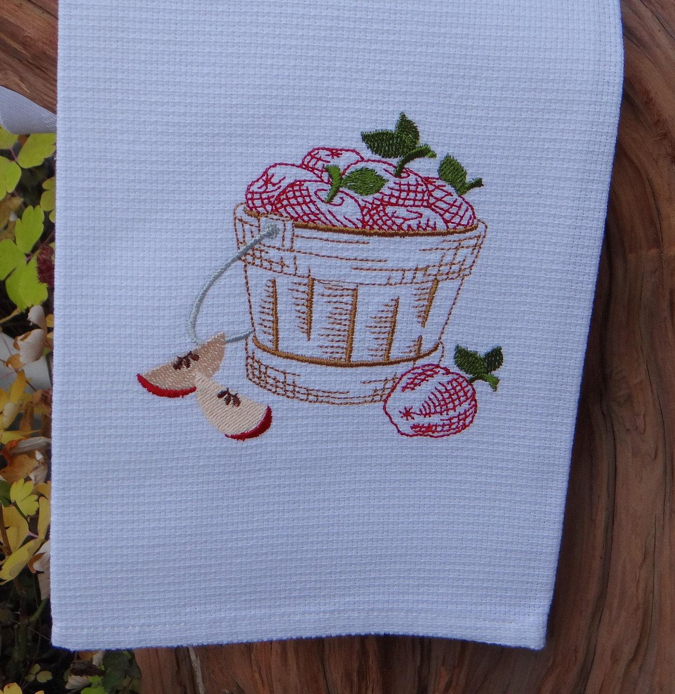 Harvest Theme Cotton Huck Kitchen Towel - Apple Basket