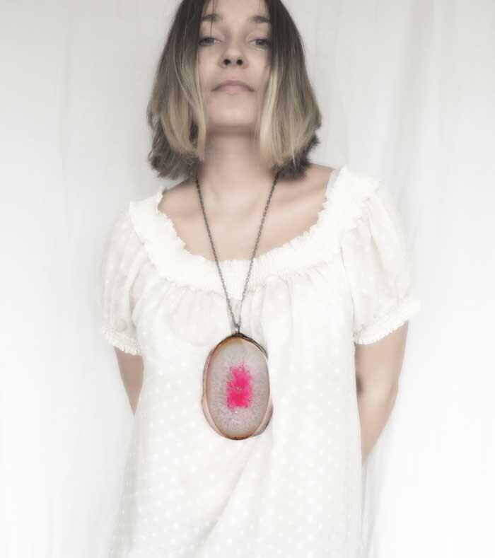 Fuchsia, big, huge, agate, stone pendant, pink, stone pendant, delicate pendant, by MARIAELA - MARIAELA