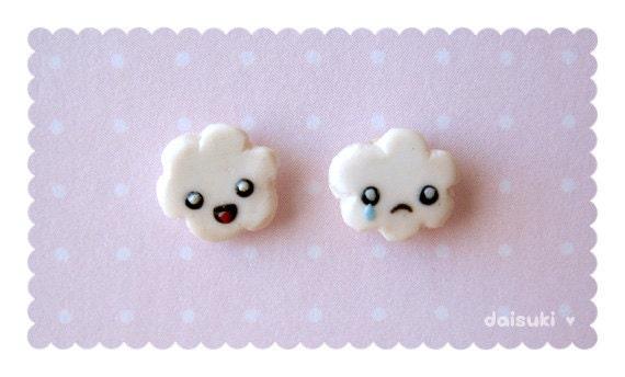 Happy Cloud, Sad Cloud Earrings - Kawaii / Cute - handmade polymer clay
