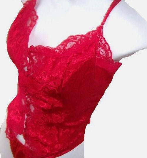Red Victorias Secret  Camisole COrset Look Lingerie