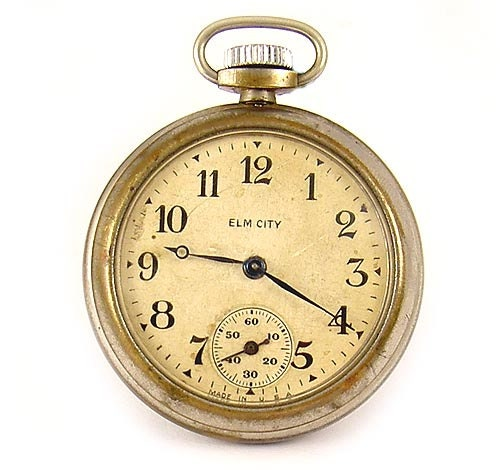 Hew Haven Clock & Watch Co 1920s ELM CITY Pocket Dollar Watch - AmericanDollarWatch