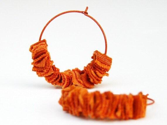 Tangerine Orange Earrings Hoops Upcycled Tshirt by TrashN2Tees - TNTees
