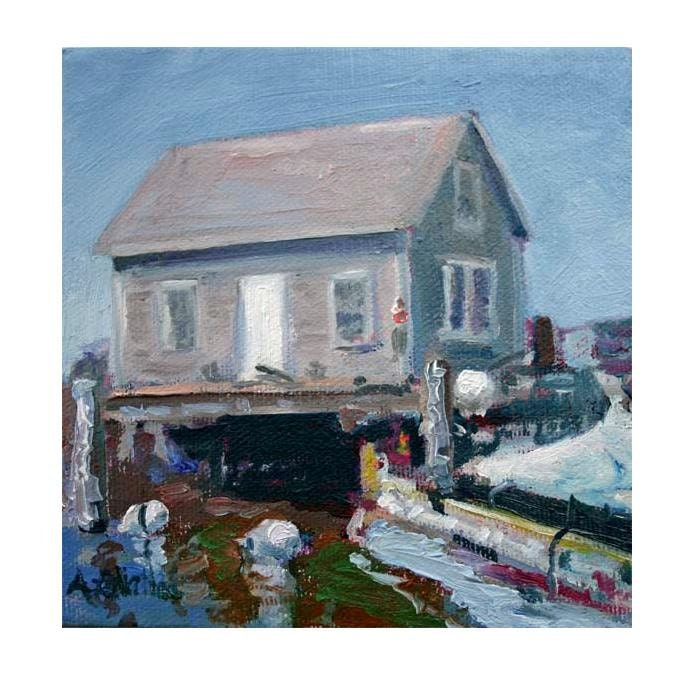 "Coastal Maine Lobster shack Original Small 5""X5"" oil painting  stretched canvas - MyMainePaintings"