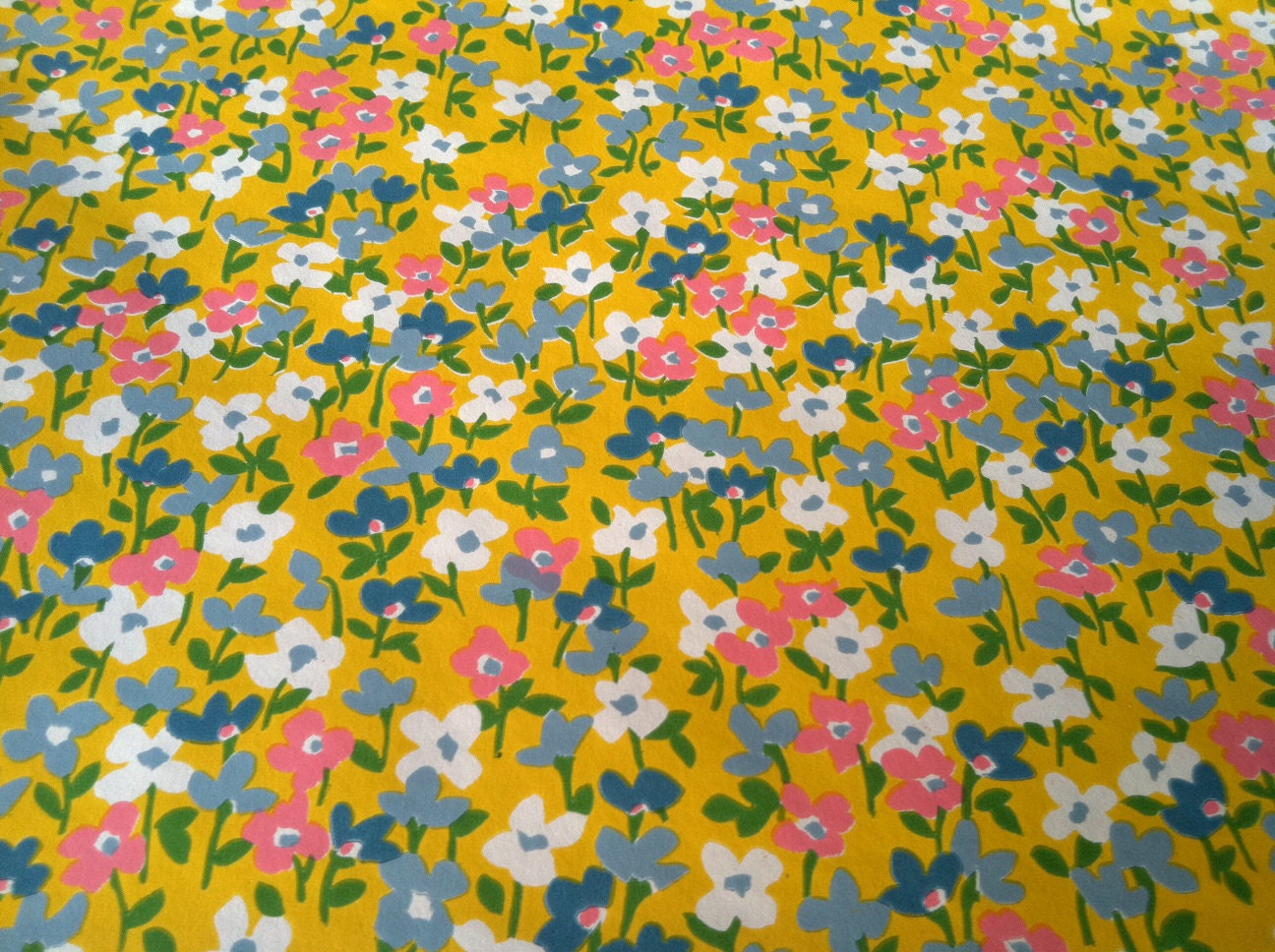 Vintage 1970s Wallpaper- LIttle Flowers in Yellow by Schumacher- sold by the yard