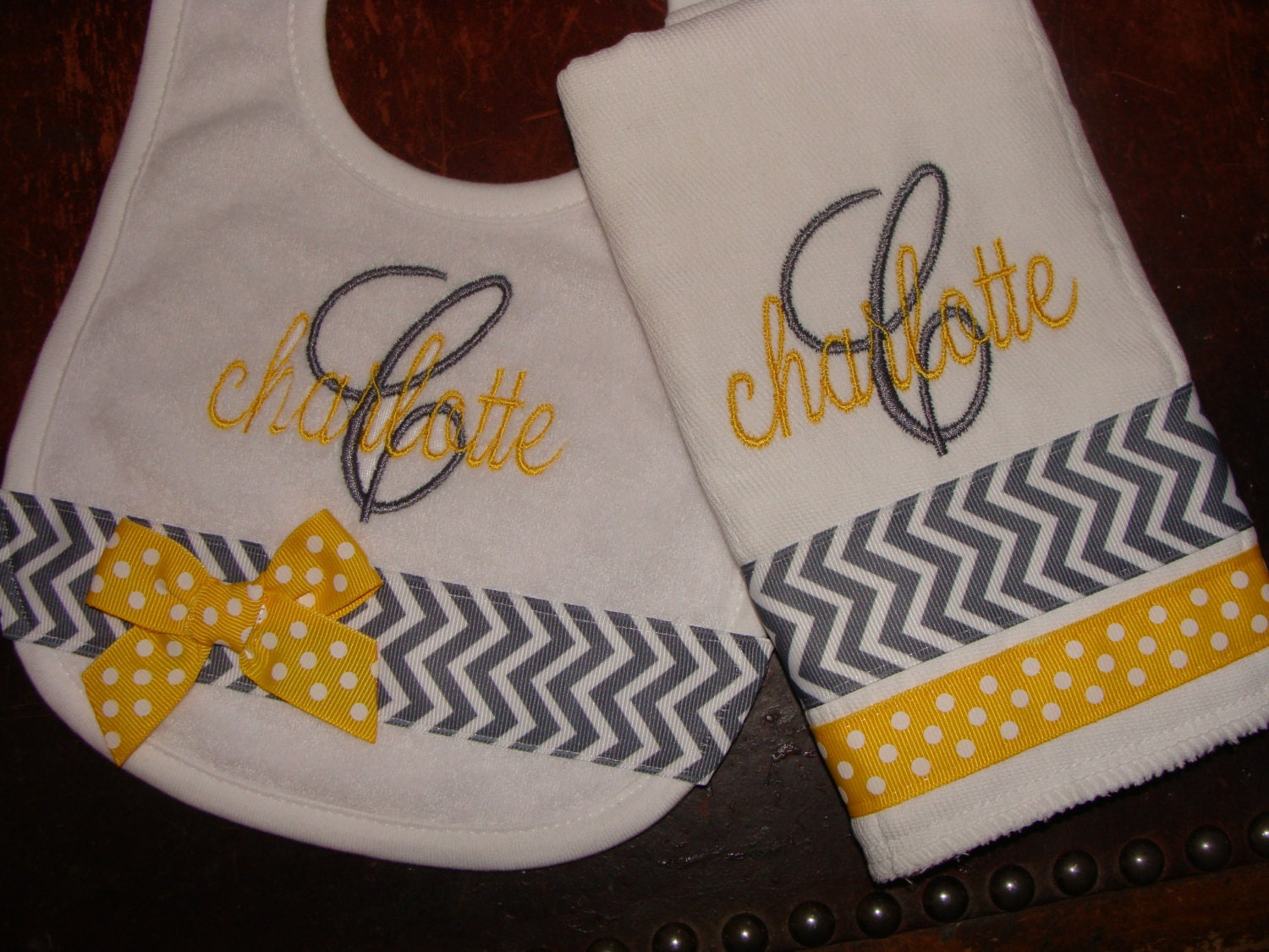 Personalized Bib and Burp cloth set BOY GIRL  Lots of Styles and Colors