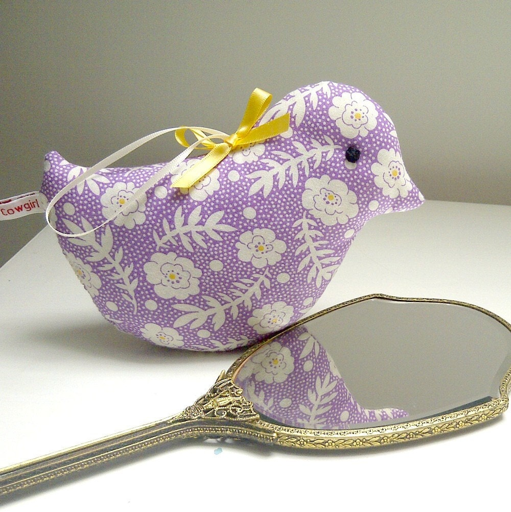 Violet and Cream, Sweet Lavender Bird in Happy Pastels...Scented Home Decoration - TheWhistlingCowgirl