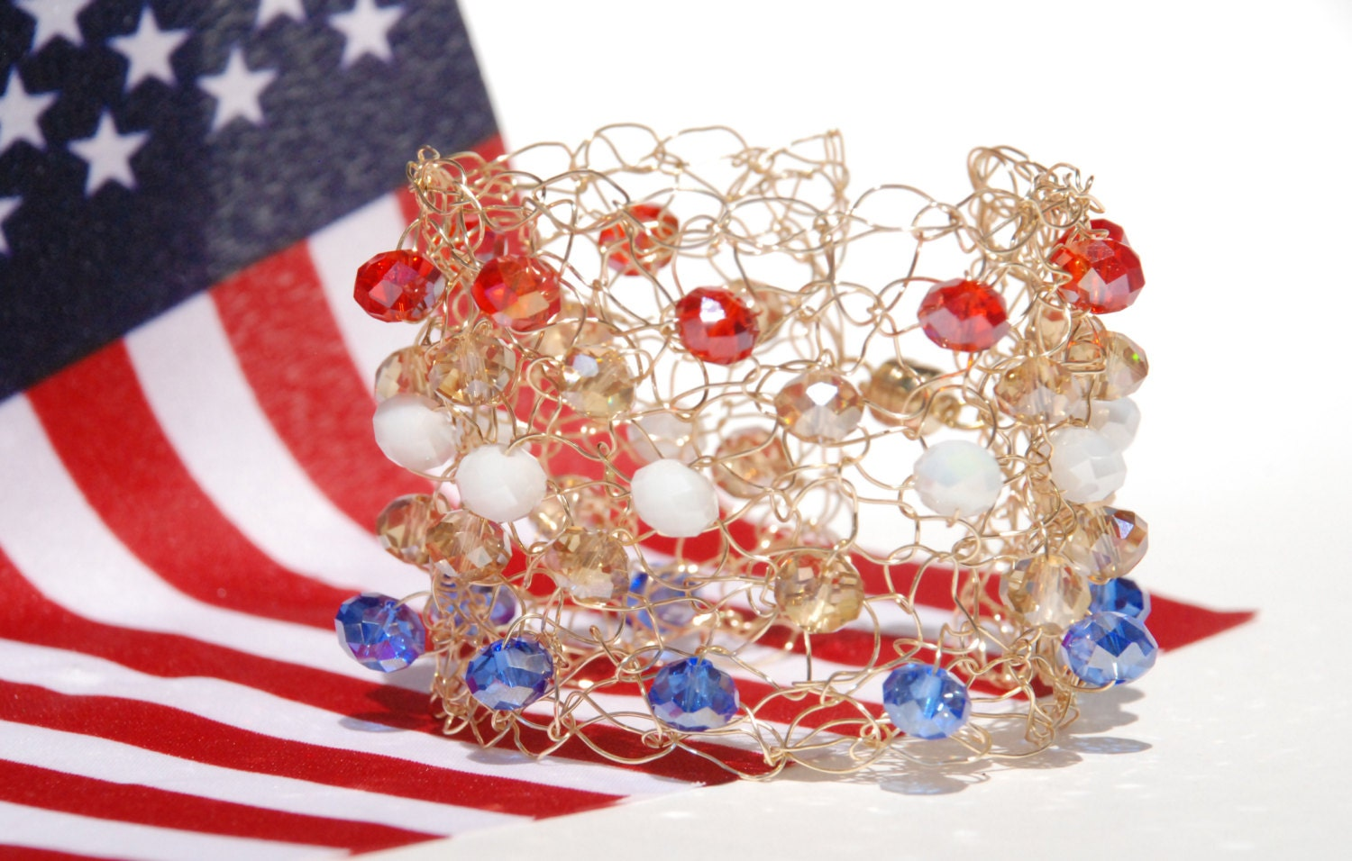 July 4th Jewelry Red White and Blue Bracelet Patriotic Wire Cuff - TheKnottyNeedle