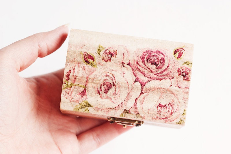 Jewelry Wooden Box With Roses Made With Decoupage Technique - Pastel Pink, Wedding, Floral, Natural, Organic, Eco-firendly - Ring Bearer Box
