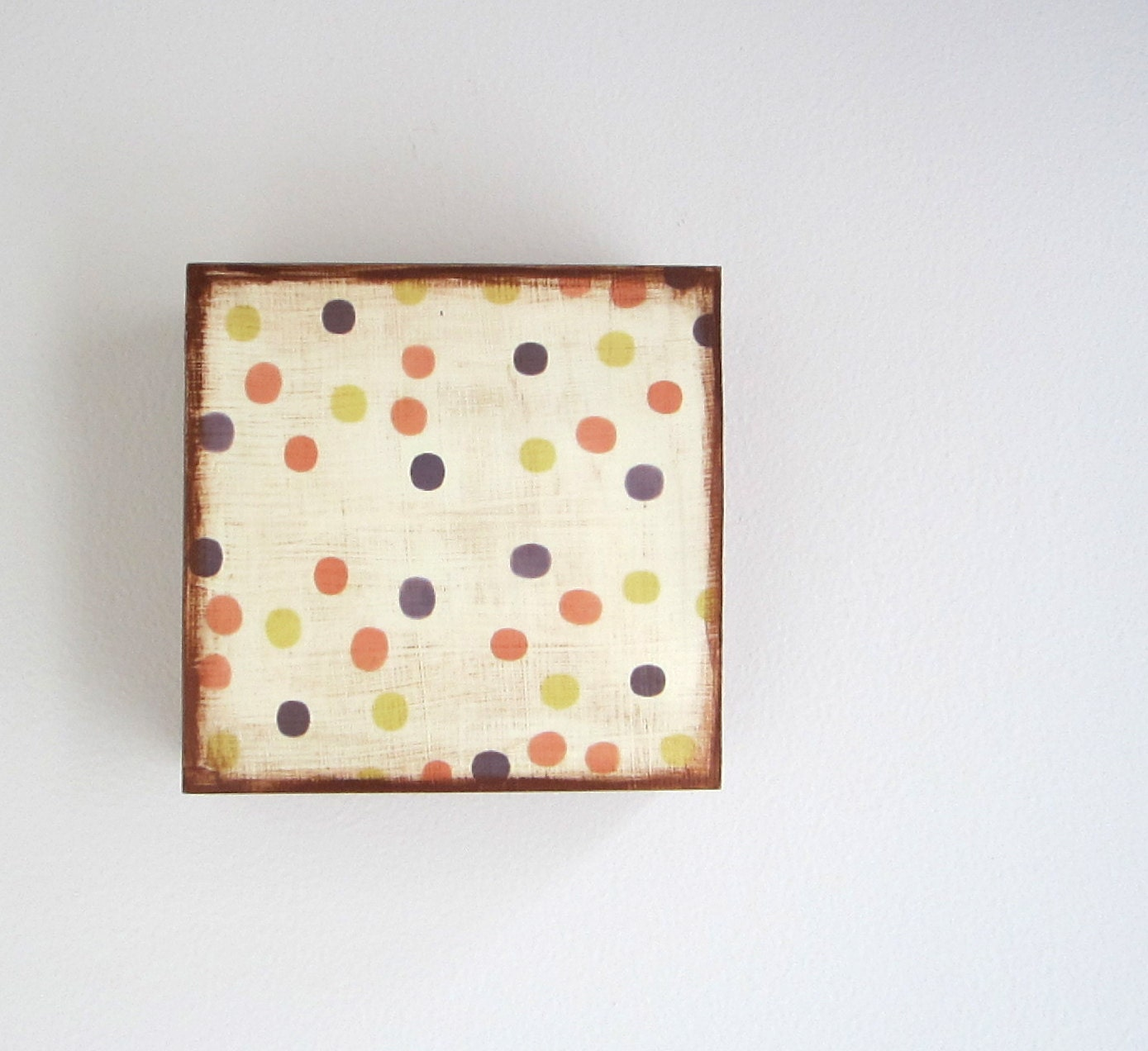 Wall Decor l Art Block l Mod Polka Dots Rust Chartreuse Green Orange Wall hanging 5x5 copper Metallic Geometric Circles redtilestudio wood - redtilestudio