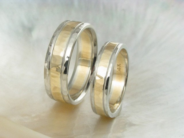 unique hammered wedding ring set 14k gold duo tone two tone wedding