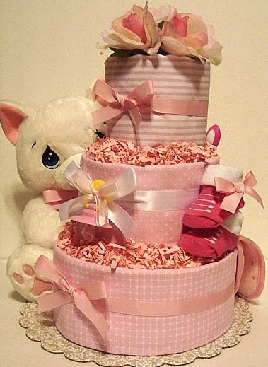Precious Moments Kitty Diaper Cake