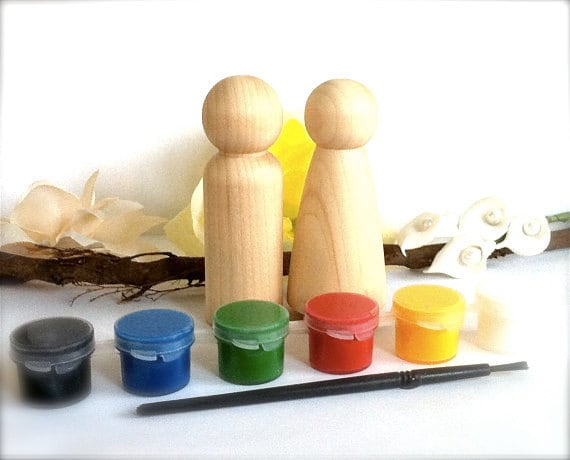 DIY Wedding Cake Toppers Paint Kit 2 Wood Peg Dolls Bride and Groom Naked