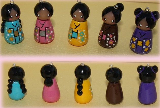 Kokeshi Doll Charms