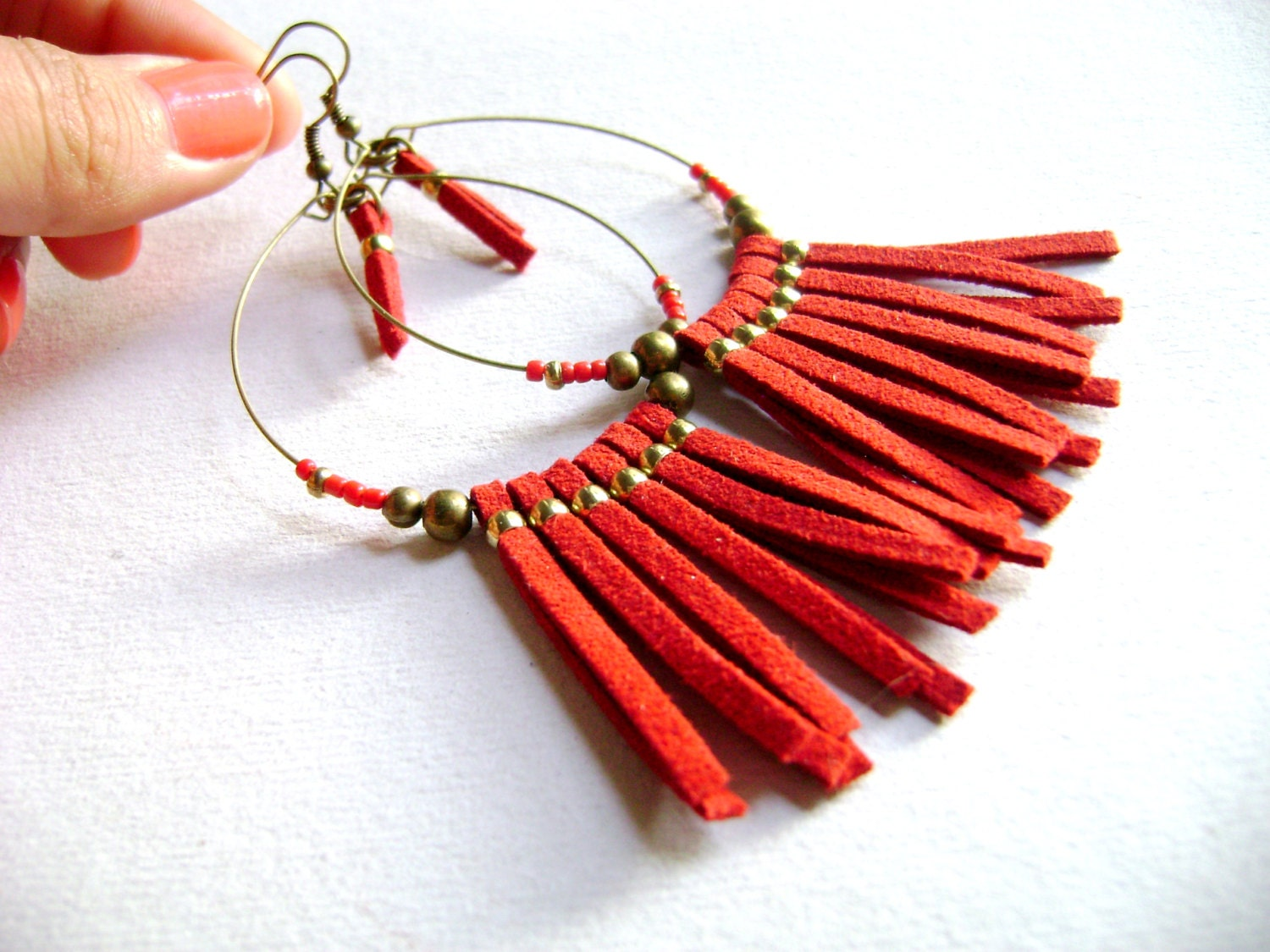 Wildly - Carmine red faux suede leather golden beads boho chic long earrings - DivinaLocura