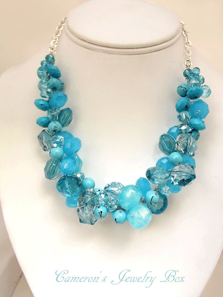 Chunky Turquoise Necklace, Blue Statement Necklace, Swarovski Crystals, Beaded Crochet Necklace, Bridesmaid Jewelry