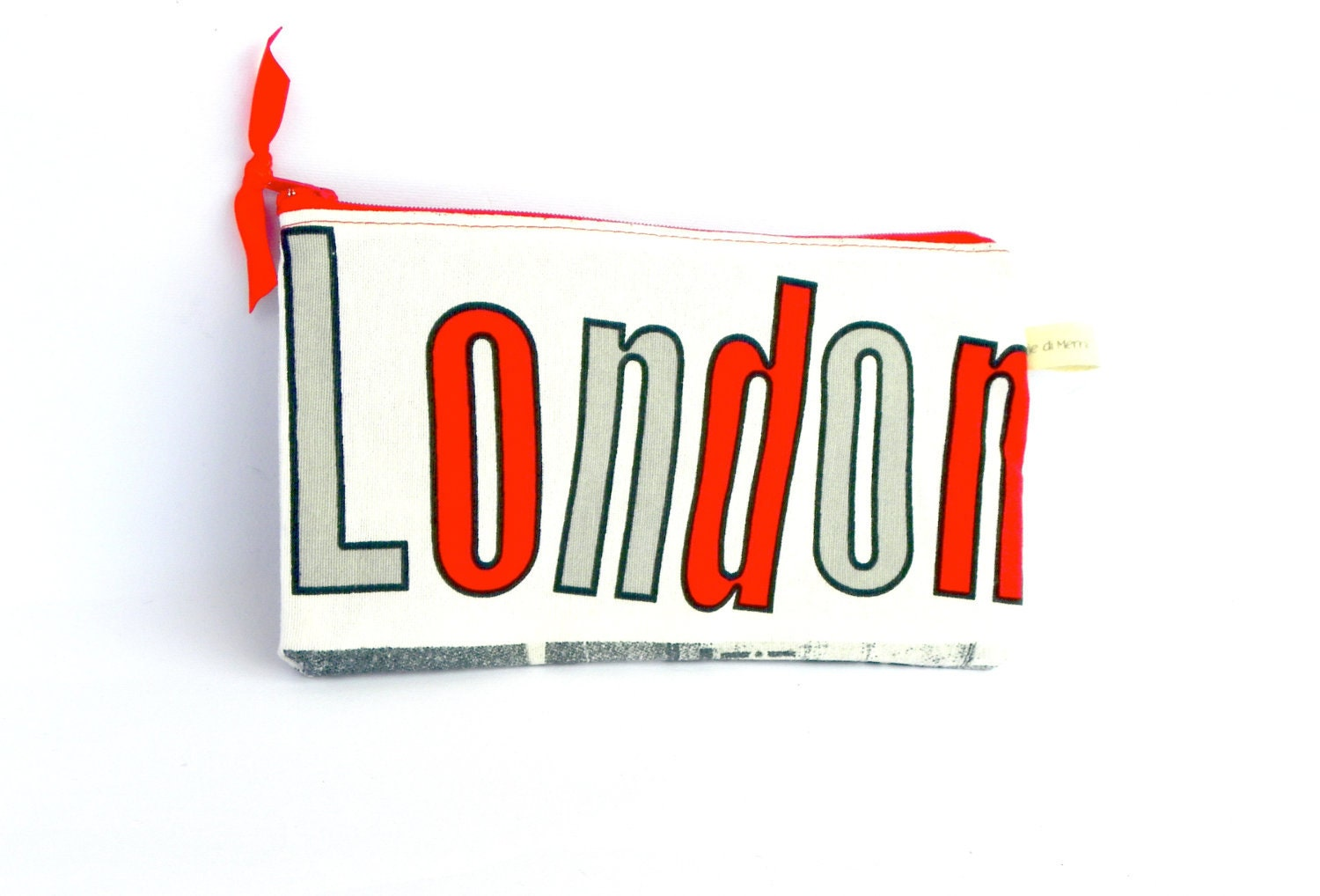London Clutch, Cosmetic Pouch, Red and Gray Make up Purse, Cosmetic Bag