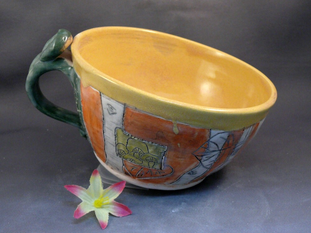 Handmade Ceramic Soup Mug or Latte Cup A3 / Yellow Soup Bowl / Yellow Tea Cup Teacup / Hostess Babysitter Thank you