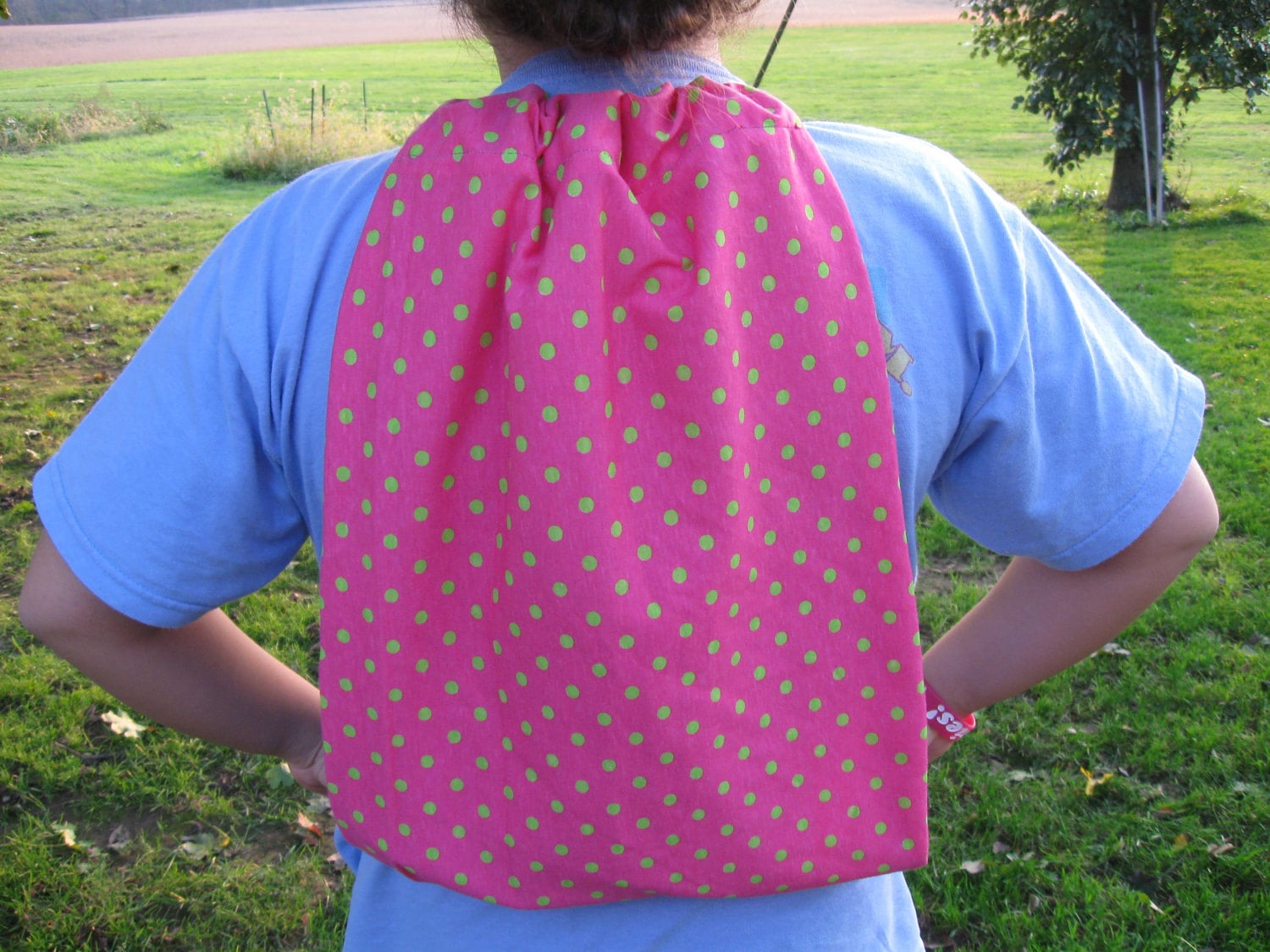 SALE Polka Dot Pink and Green Back Pack Gym or Tote Back Bag Jersey Material