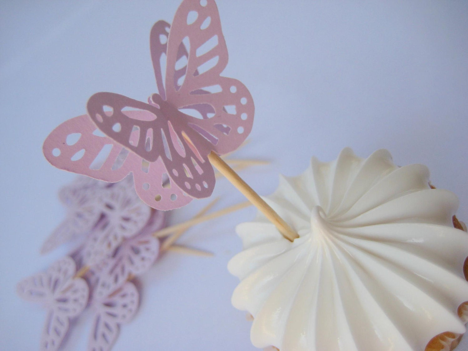 12 Large Lilac Monarch Butterfly Party Pick Food Pick Cupcake topper
