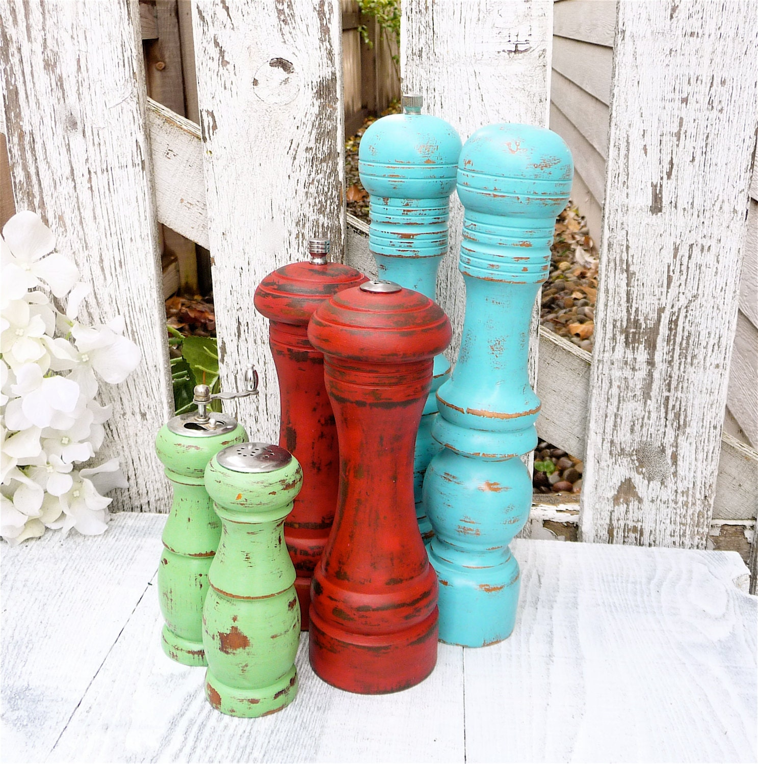 Shabby Chic Salt and Pepper Mill Tall Turquoise Set