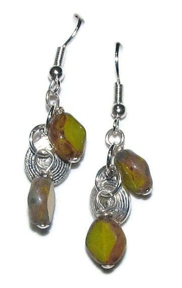 beaded earrings - yellow glass bead and silver metal